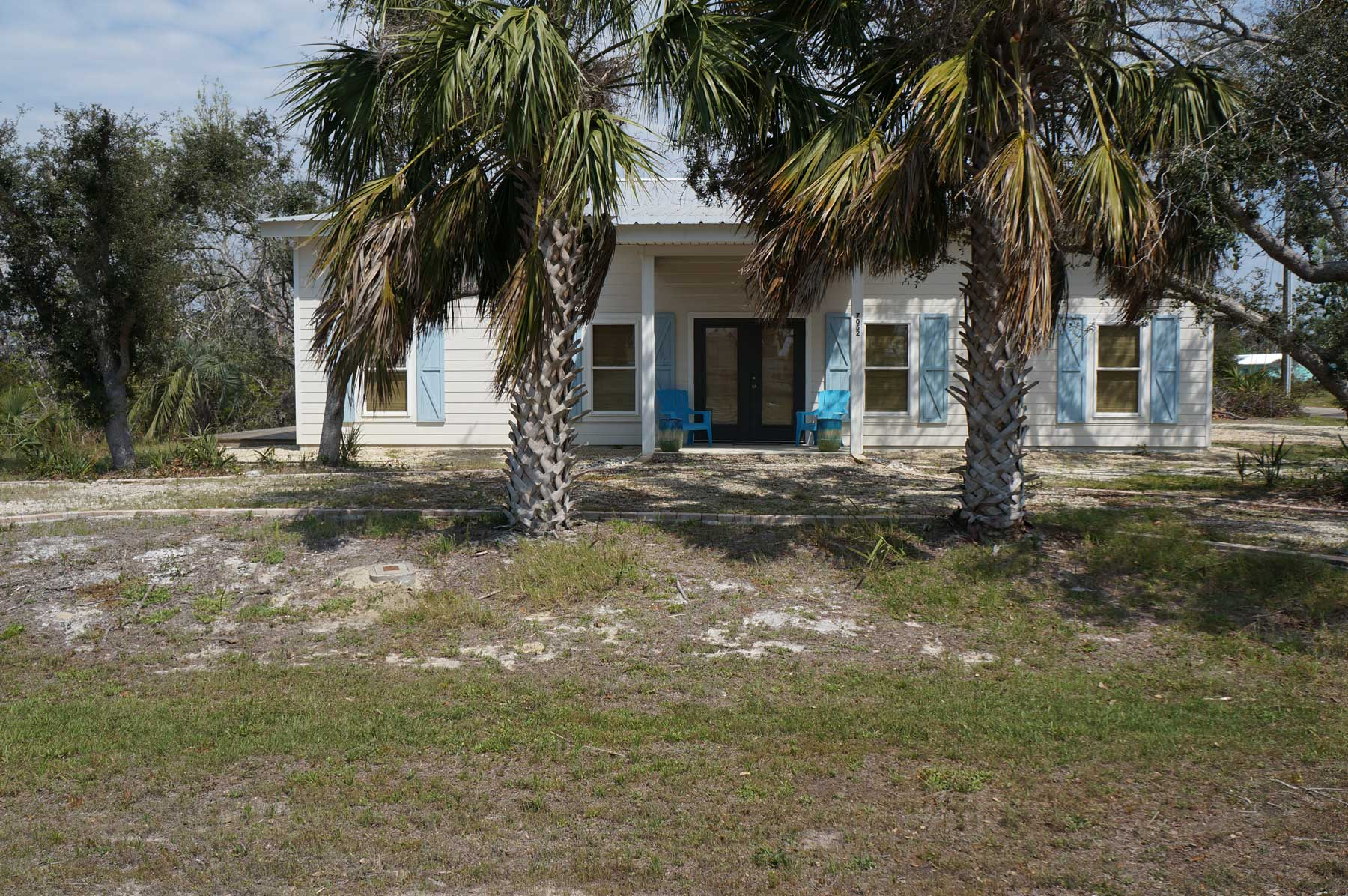 Exterior view of cute coastal cottage newly constructed in Port St Joe.