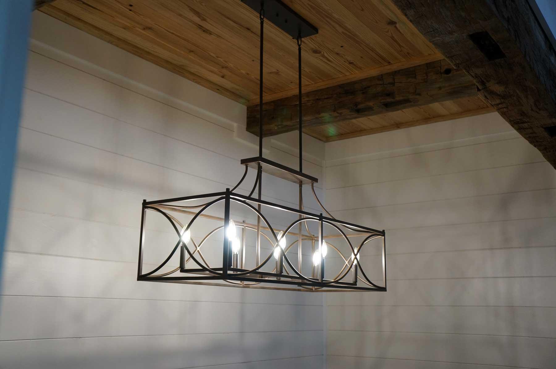 Wood beams in custom ceiling.