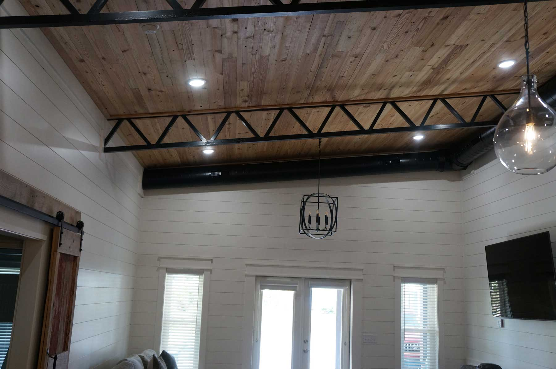 Modern ceiling with industrial touches