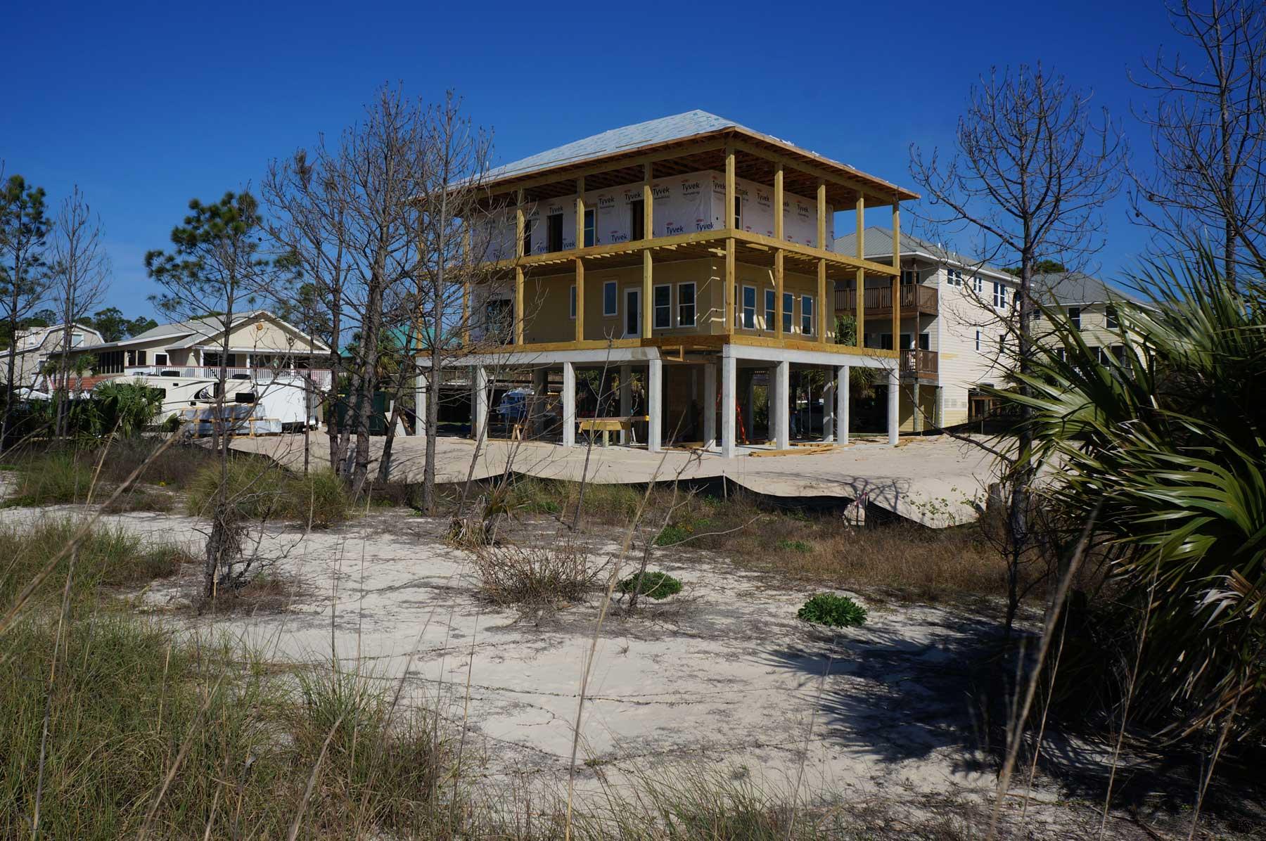 A custom built home in Mexico Beach near Port St Joe Florida.