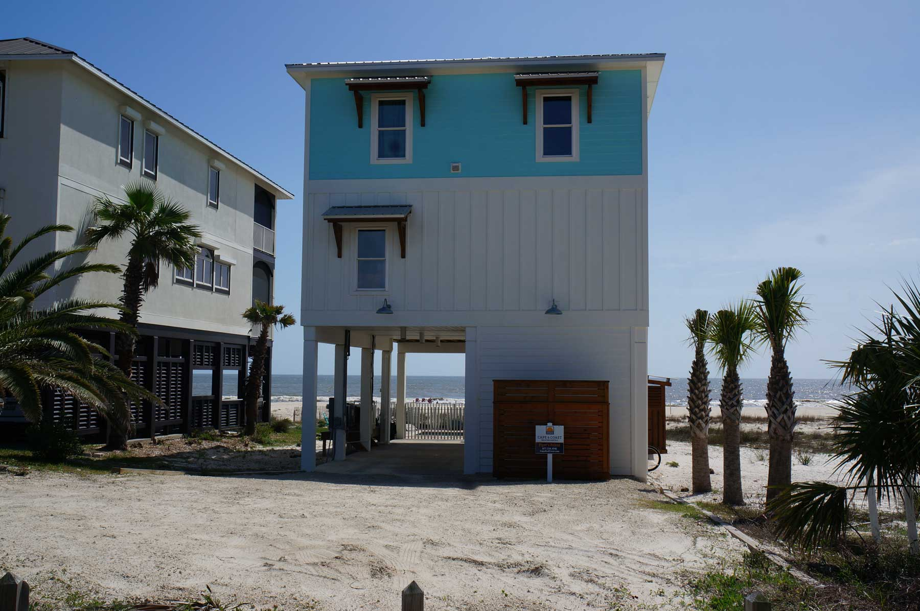 After the hurricane - a new construction waterfront home on Mexico Beach.