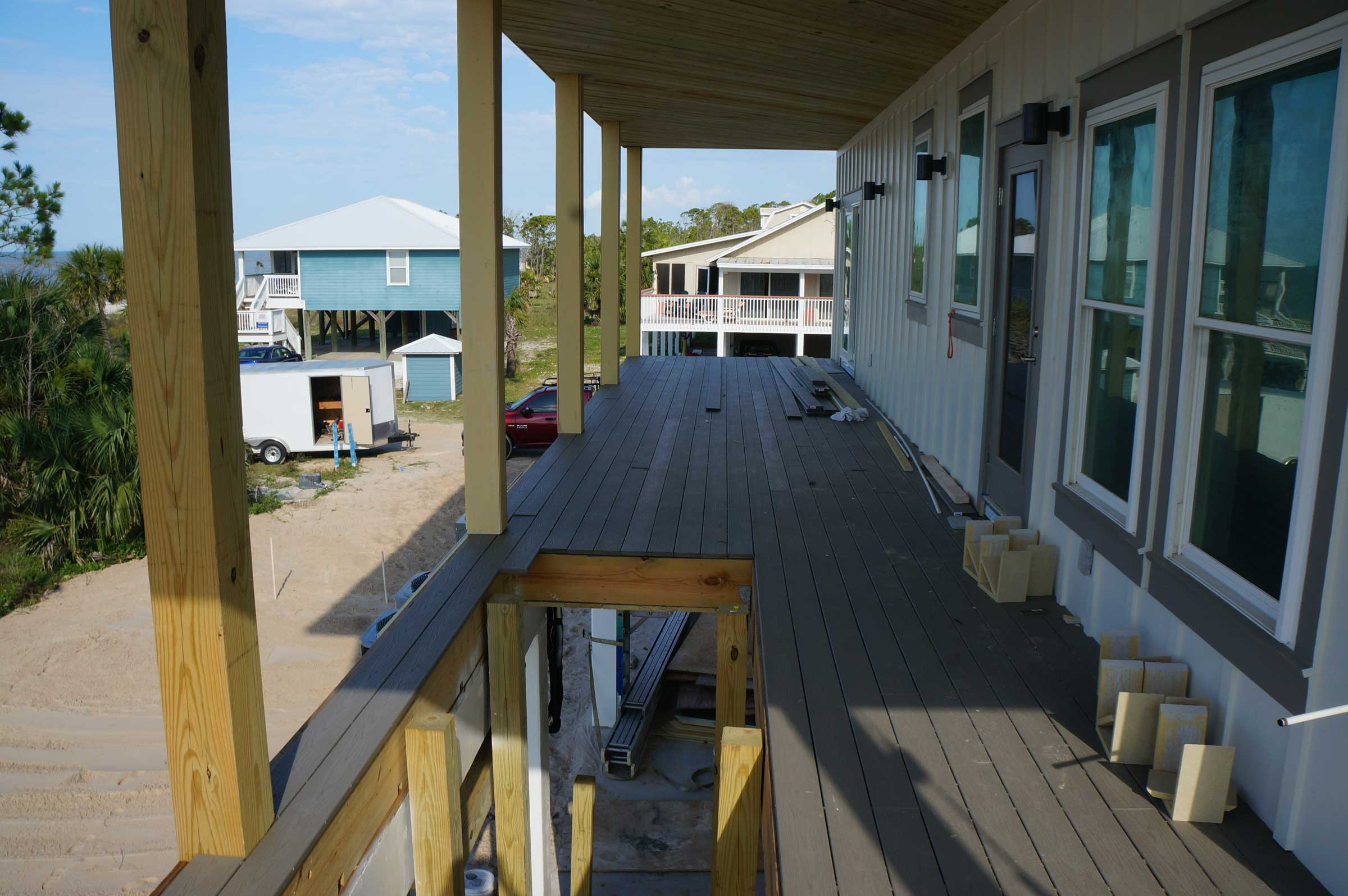 External stairway being built from ground floor to second floor deck. Contact us to discuss your new Mexico Beach home.
