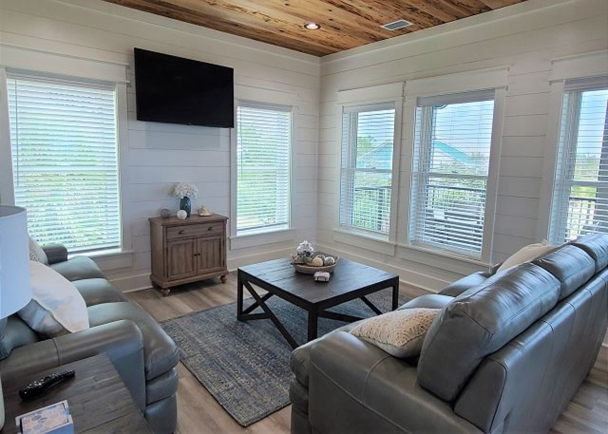 coastal finishes in living area