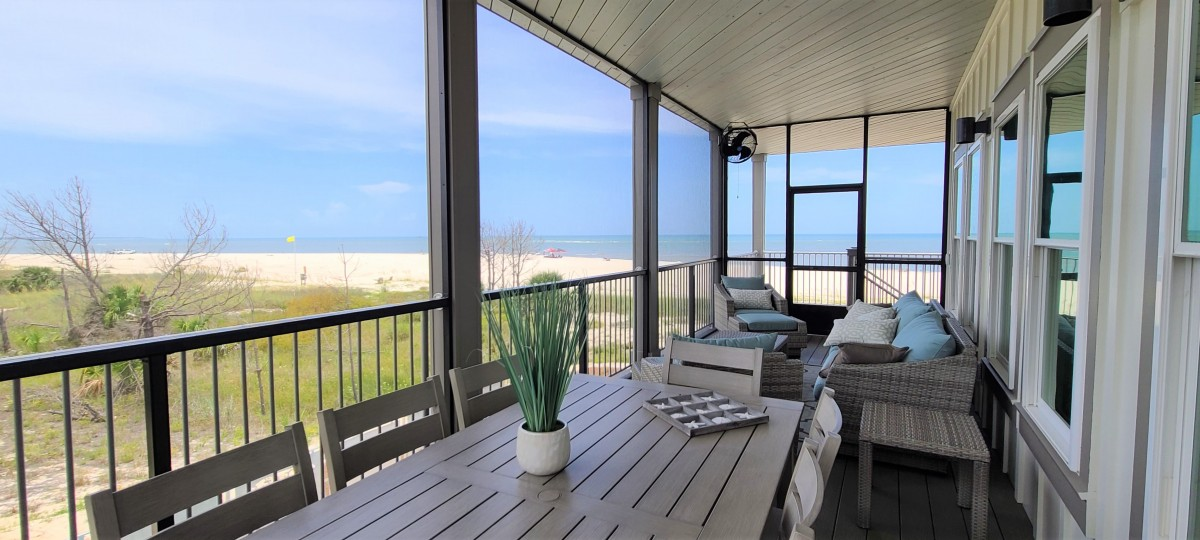 view of beach from the deck