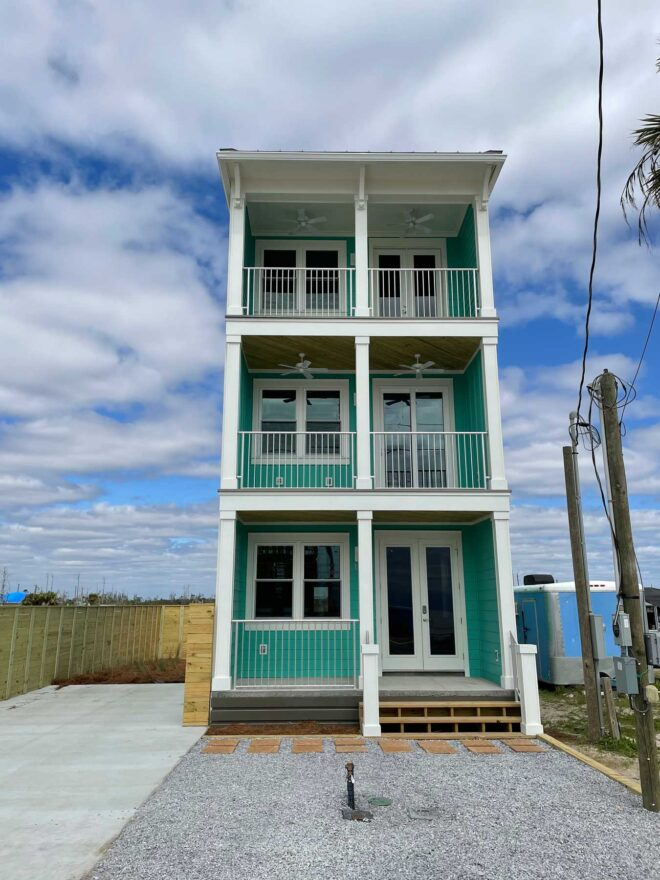 Front view of hurricane rebuild home in Mexico Beach