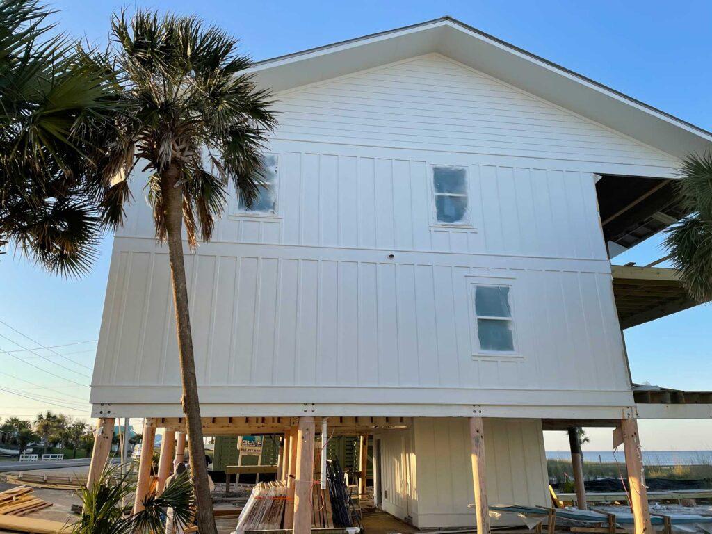 Exterior of home reno / rebuild on the beach.