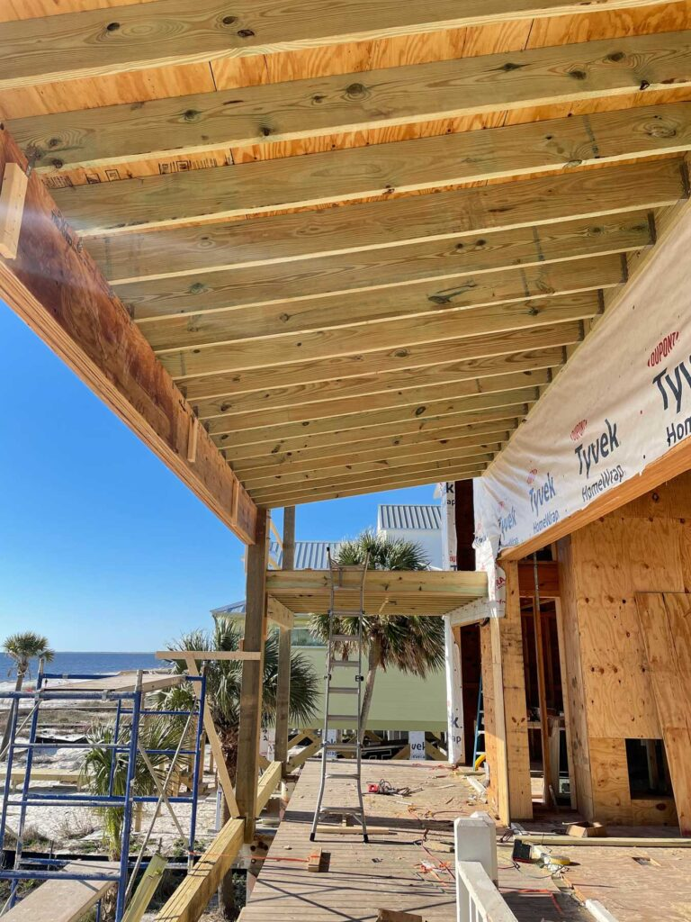 Exterior of home being rebuilt after hurricane Michael.