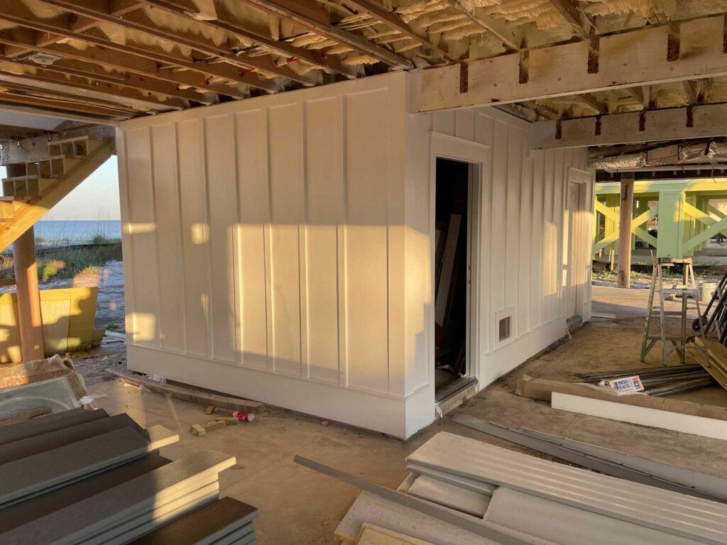 Storage unit under stilt home refurbish.
