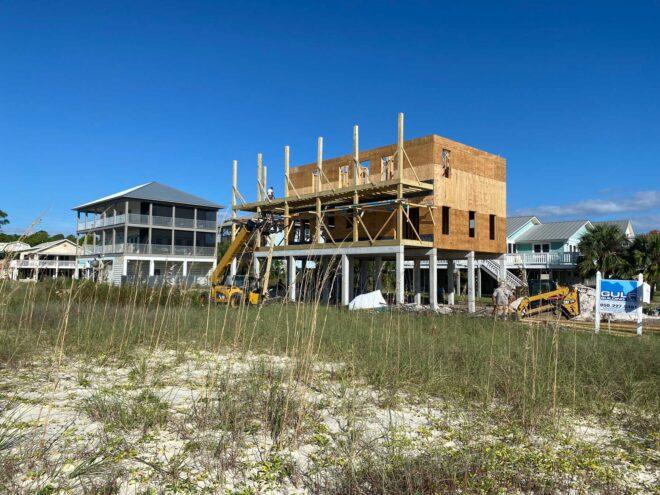 Exterior view of framing for new custom built home in Port St Joe, Florida.
